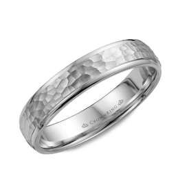 Crown Ring Frosted Hammered Centre and High Polished Edges 4.5mm Sterling Silver Band