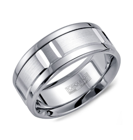 Torque Modern White Cobalt Mens 9mm Wedding Band