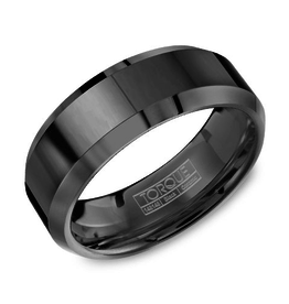 Torque Torque Black Ceramic 8mm Mens Wedding Band