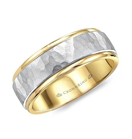 Crown Ring Yellow and White Gold Sandblast 6mm Mens Wedding Band