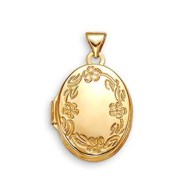 10K Yellow Gold Floral Oval Locket Pendant