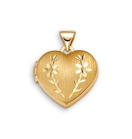 10K Yellow Gold Diamond Cut Floral Heart Locket