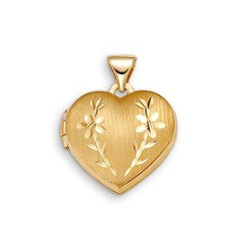 Yellow Gold Floral Heart Locket