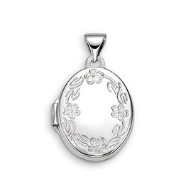 White Gold Floral Oval Locket