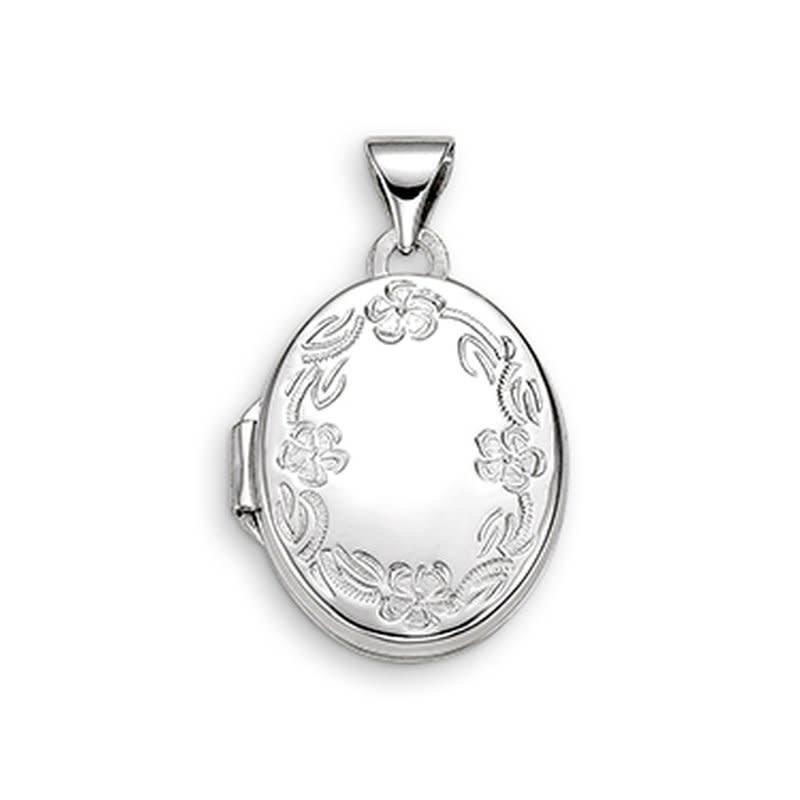 10K White Gold Floral Design Oval Locket