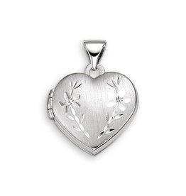 10K White Gold Floral Heart Locket