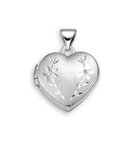 White Gold Floral Heart Locket
