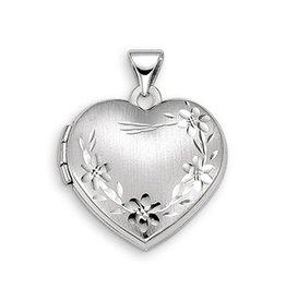 10K White Gold Floral Heart Locket Pendant