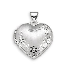 White Gold Floral Heart Locket Pendant
