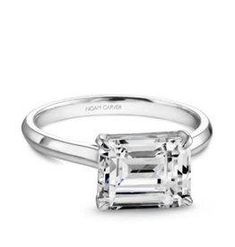 Noam Carver Noam Carver Rose Gold Solitare Emerald Cut Mount Ring