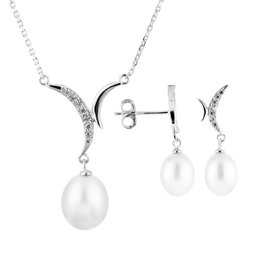 Dangle Freshwater Pearl Pendant and Matching Earring Set (7-8mm)