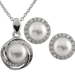 Halo CZ Freshwater Pearl Pendant and Matching Earrings (6.5-7mm)