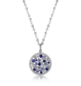 Elle Elle Moonlite Sterling Silver Synthetic Blue Corrundum, Spinel and Tanzinite CZ Necklace