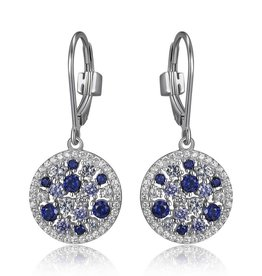 Elle Elle Silver Blue, Spinel and Tanzinite Cubic Zirconia Leverback Earring