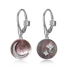 Elle Elle Silver Grey Mother of Pearl Moon and Stars Leverback Earring
