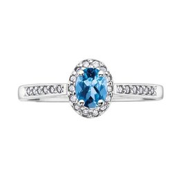 White Gold Blue Topaz and Diamond December Birthstone Ring