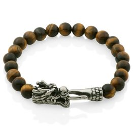 Steelx Steelx Tiger Eye Bead Bracelet with Dragon Closure