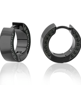 Stainless Steel Black Tone Huggie Earrings With Black Cubic Zirconia