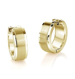 Stainless Steel Gold Tone Hoop Earrings With Brush Finish