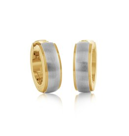 Stainless Steel Two Tone Hoop Earrings With Brush Finish