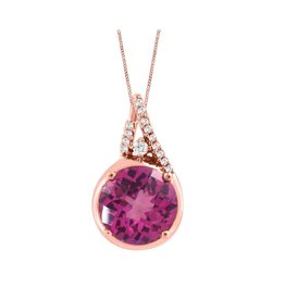 Fire and Ice 10K Rose Gold Pink Topaz and Canadian Diamond Pendant