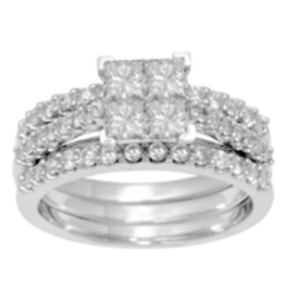 White Gold Diamond 3 Band Cluster Engagement Ring (1.53CT)