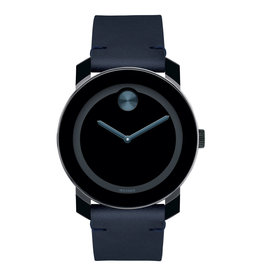 Movado Movado BOLD Mens Dark Navy Leather Watch with Black Dial.