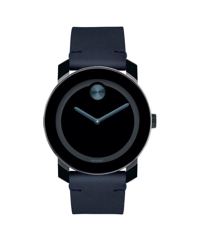 Movado Movado BOLD Mens Dark Navy Leather Watch with Black Dial.