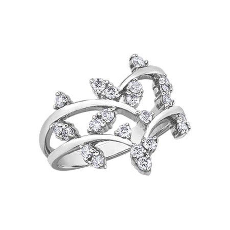 10K White Gold (0.50ct) Diamond Leaf Design Ring