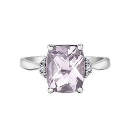 Checkered Cut Pink Amethyst and Diamond White Gold Ring