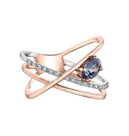 Tanzanite and Diamond Rose and White Gold Ring