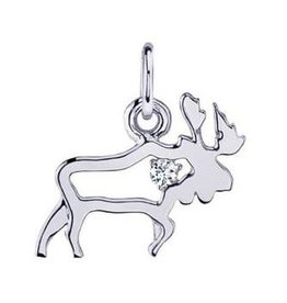 Moose (0.02ct) Canadian Diamond White Gold Pendant