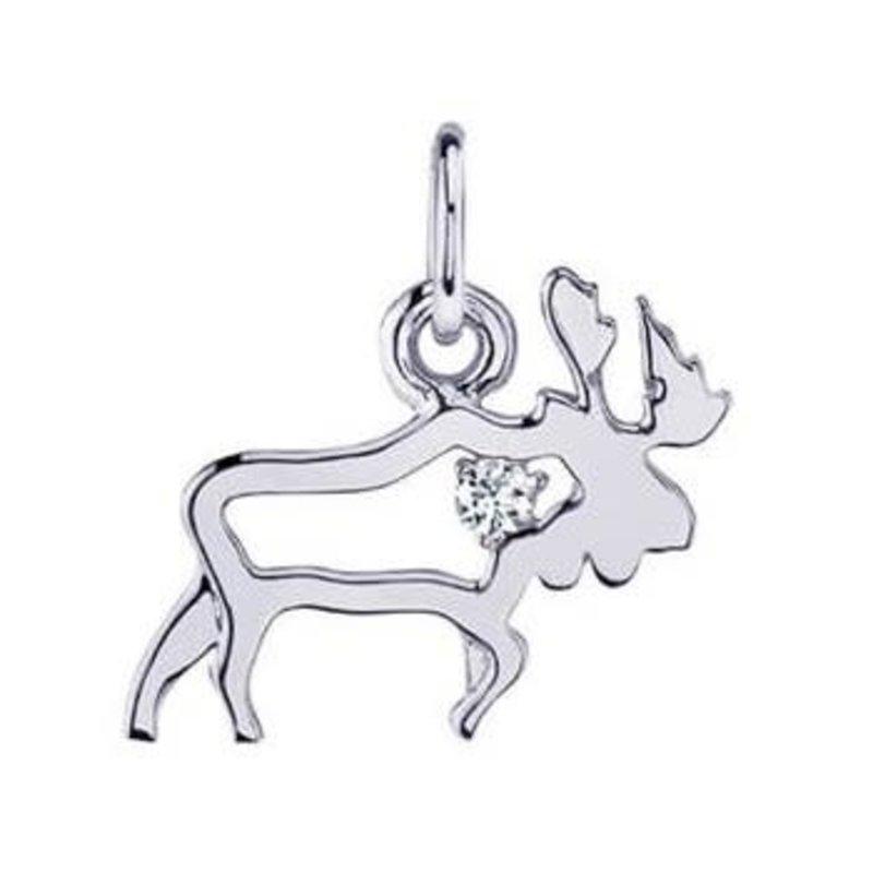 10K White Gold (0.02ct) Canadian Diamond Moose Pendant