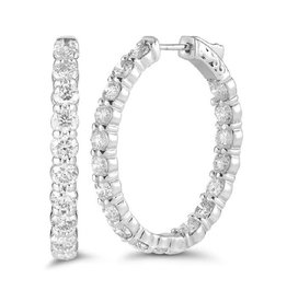 In and Out Diamond Hoop Earrings (0.50ct) White Gold