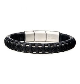 Inox Men's Stainless Steel Clasp with Black Leather Bracelet