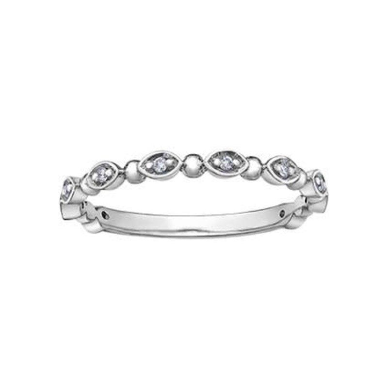 10K White Gold (0.06ct) Diamond Stackable Wedding Band