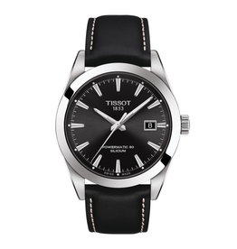 Tissot Tissot Gentleman Powermatic 80 Silicium Black Dial Black Leather Strap Watch