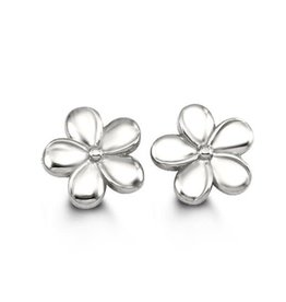 White Gold Flower Stud Earrings