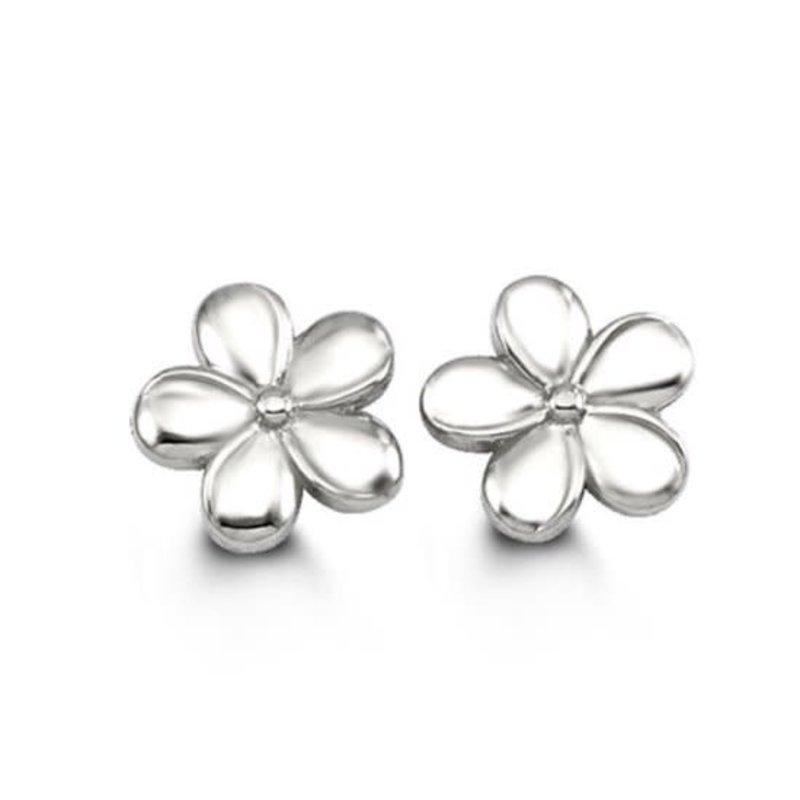 White Gold Flower Stud Earrings