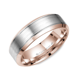 Crown Ring Rose and White Gold (7mm) Wedding Band (10K or 18K)