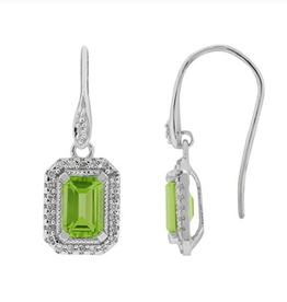 10K White Gold Peridot and Diamond Dangle Earrings
