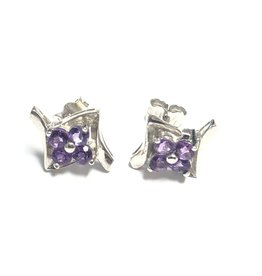 14K White Gold Amethyst Earrings