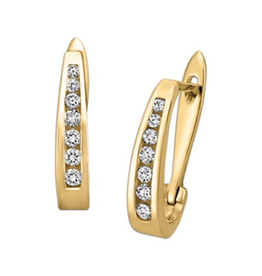 14K Yellow Gold (0.50ct) Diamond Hoop Earrings