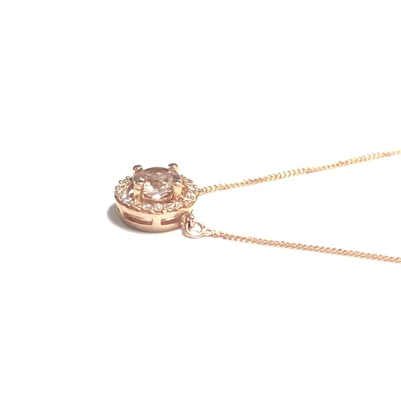 10K Rose Gold Morganite and Diamond Halo Necklace