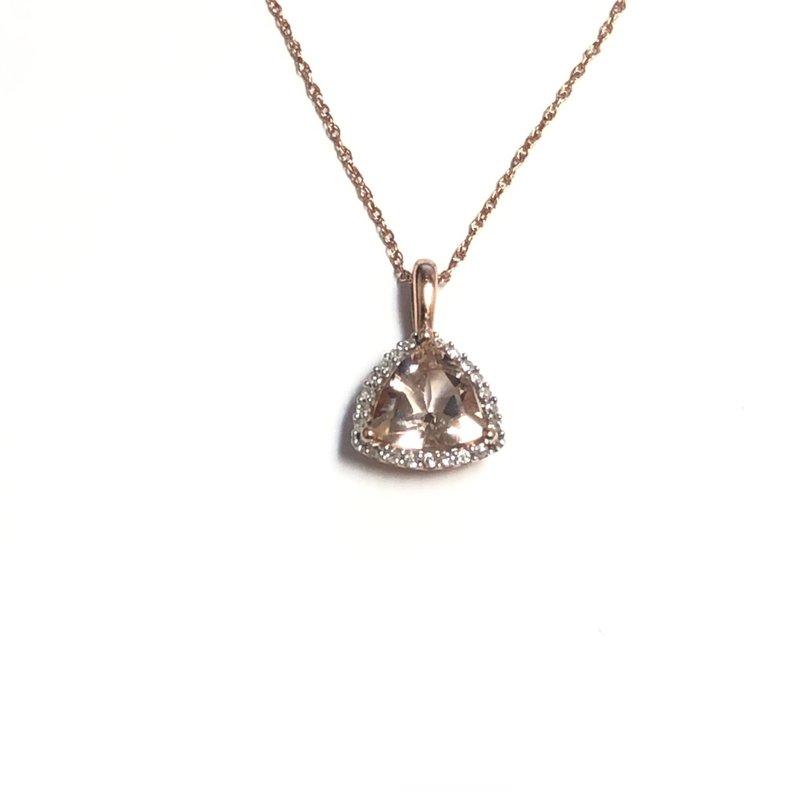 10K Rose Gold Morganite and Diamond Pendant