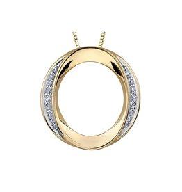10K Yellow Gold Diamond (0.228ct) Circle Pendant