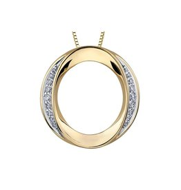 Yellow Gold Diamond Circle Pendant with Chain