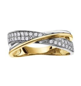 10K Pavee Set Diamond (0.19ct) Yellow and White Gold Ring