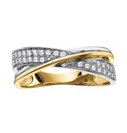 Pavee Set Diamond (0.19ct) Yellow and White Gold Ring