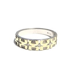14K Two Tone White and Yellow Gold (0.06ct) Diamond Men's Band